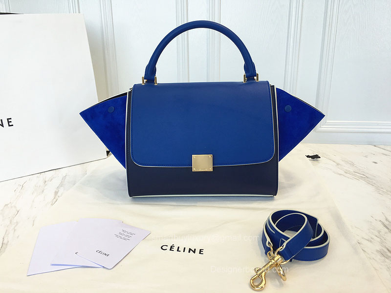 Best Replica Celine Small Trapeze Bag Multi in Electric Blue Calfskin