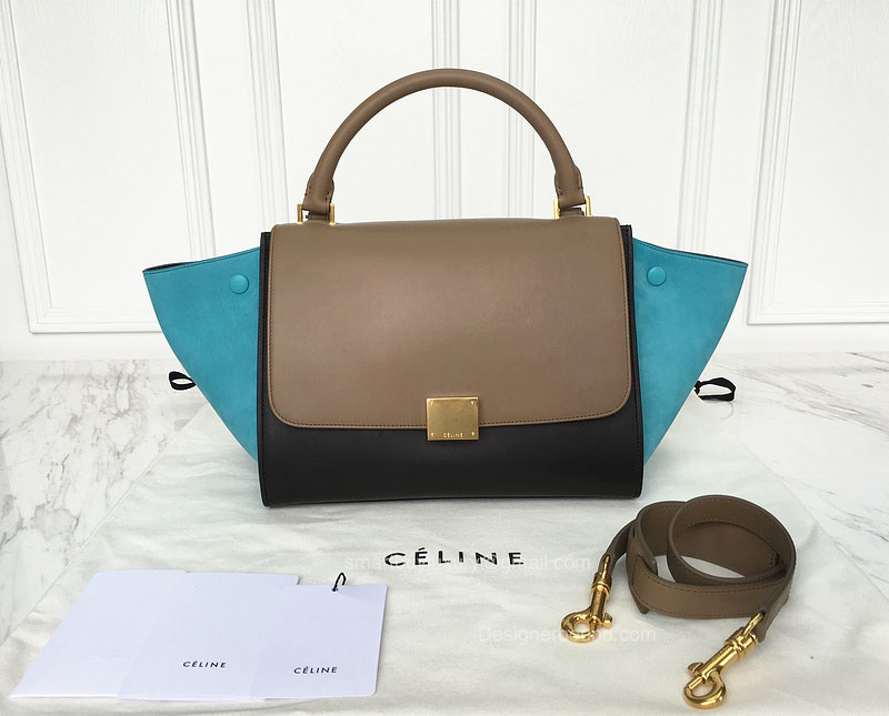 Best Replica Celine Small Trapeze Bag Multi in Blue Calfskin