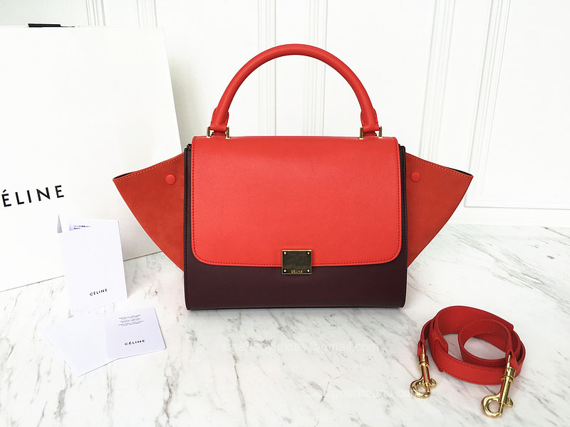 Best Replica Celine Small Trapeze Bag Multi in Red Calfskin
