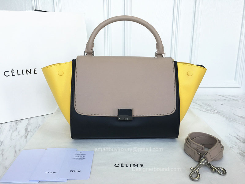 Best Replica Celine Small Trapeze Bag Multi in Yellow Calfskin