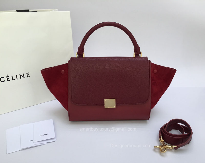 Best Replica Celine Small Trapeze Bag Multi in Gurgundy Goatskin