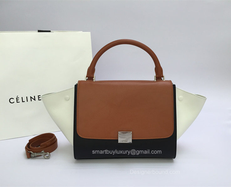 Best Replica Celine Small Trapeze Bag Multi in Brown Calfskin