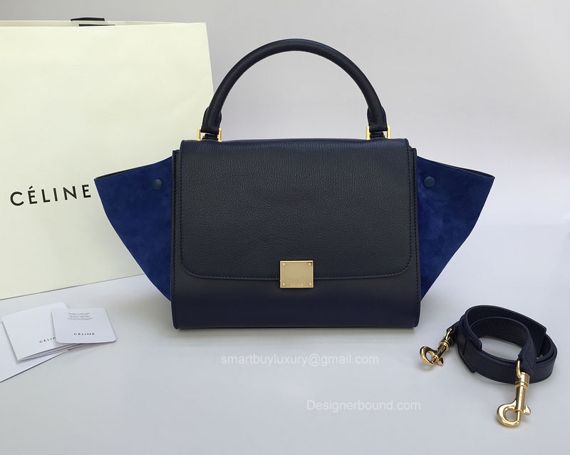 Best Replica Celine Small Trapeze Bag Multi in Royal Blue Goatskin