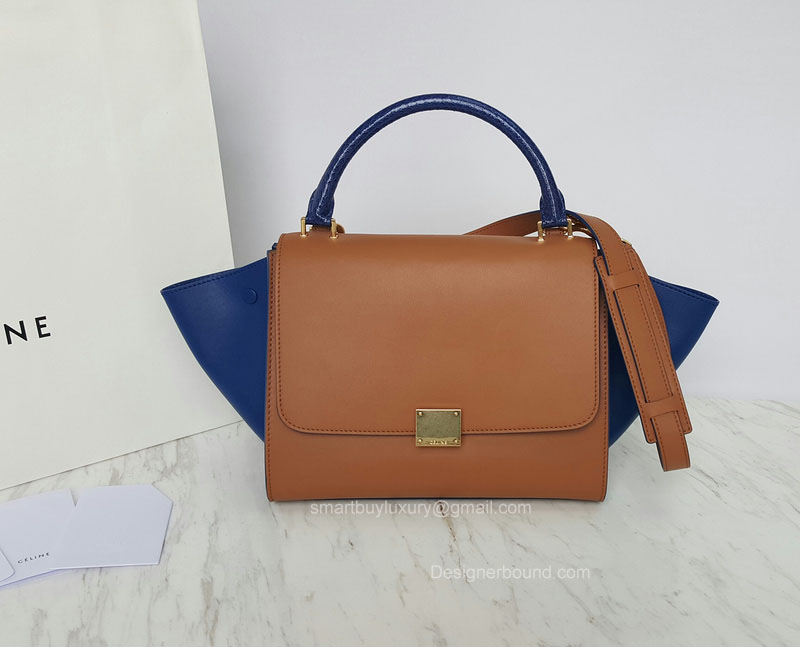 Best Replica Celine Small Trapeze Bag in Blue Python Embossed Handle