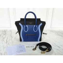 Celine Nano Luggage Bag Multicolour in Blue Calfskin