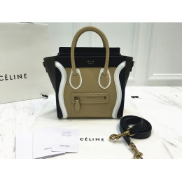 Nano Luggage Celine Bag Multicolour in Tan Calfskin