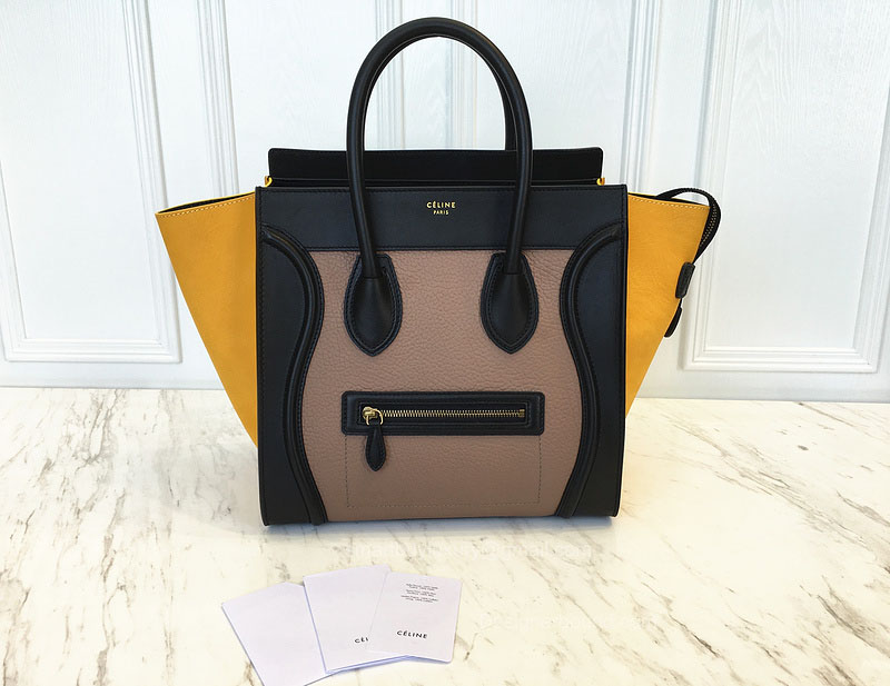 Celine High-End Mini Luggage Bag in Yellow Multi Calfskin