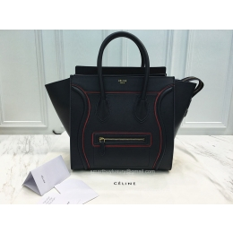 High-End Mini Luggage Celine Bag with Interstice in Navy Blue Calfskin
