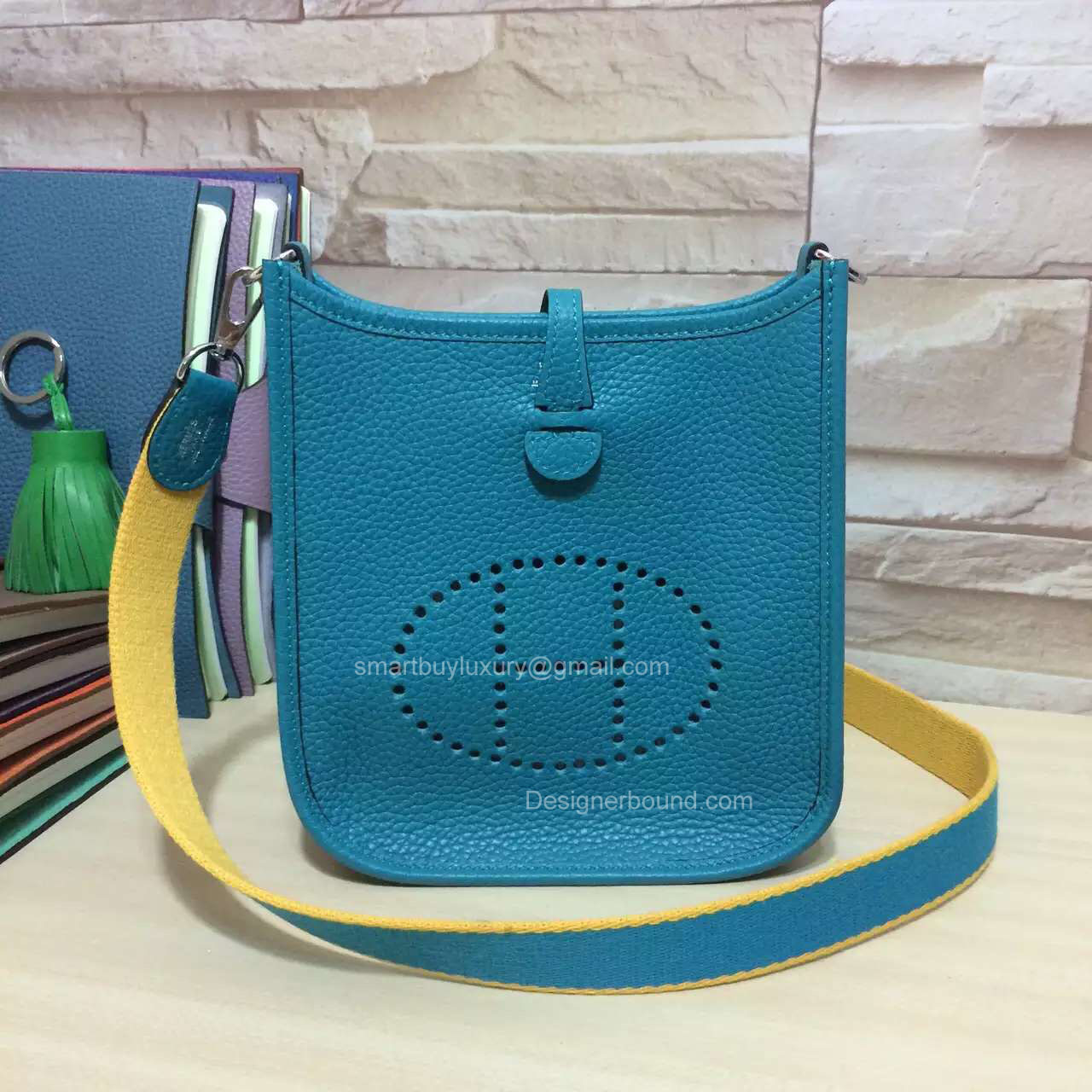 Hermes Evelyne III Bag in Blue Togo Leather TPM