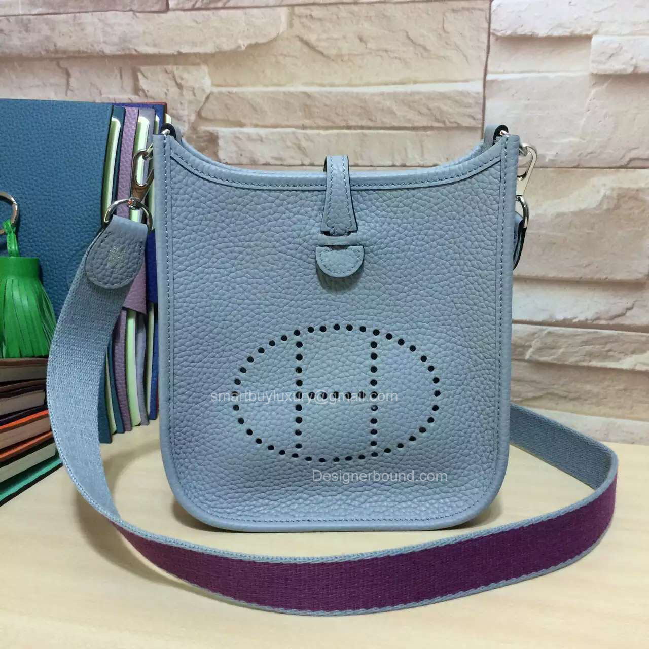 Hermes Evelyne III Bag in Ice Blue Togo Leather TPM