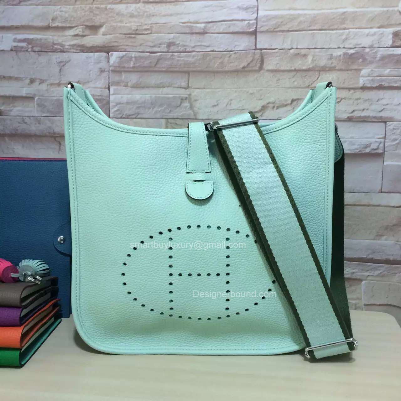 Hermes Evelyne III Bag PM in Mint Green Togo Leather