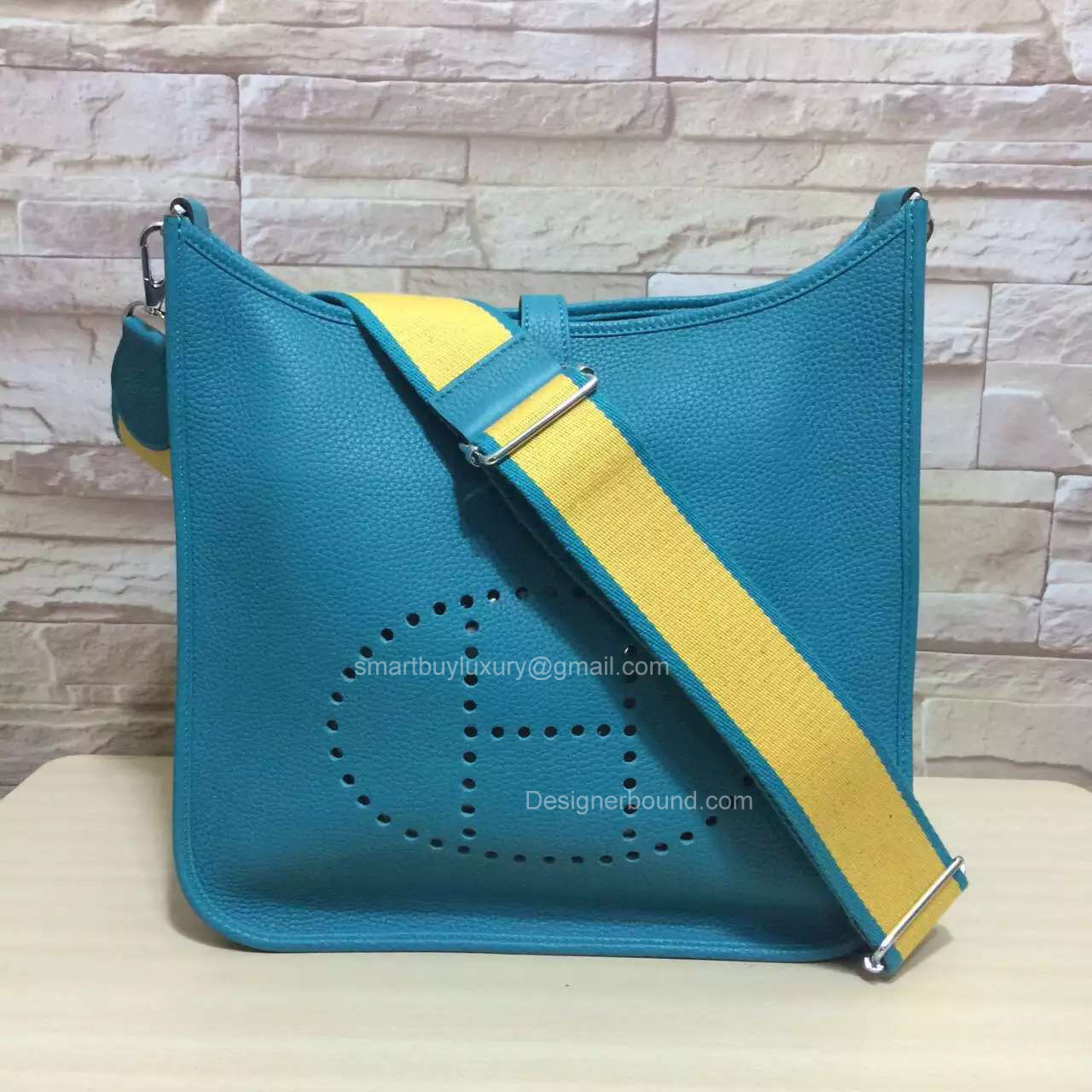 Hermes Evelyne III Bag PM in Blue Togo Leather