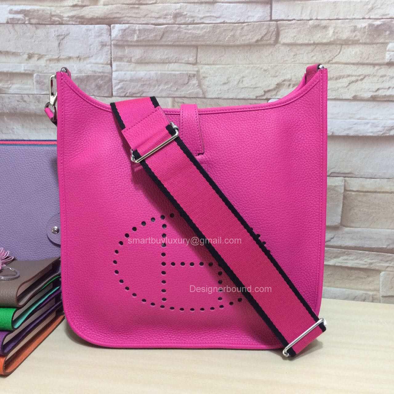 hermes blue birkin bag - Hermes Evelyne III Bag PM in Hot Pink Togo Leather -