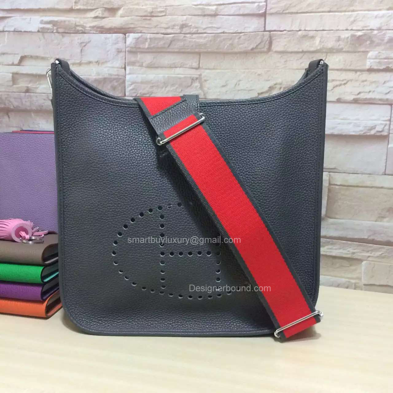 Hermes Evelyne III Iron Grey Bag GM in Togo Leather