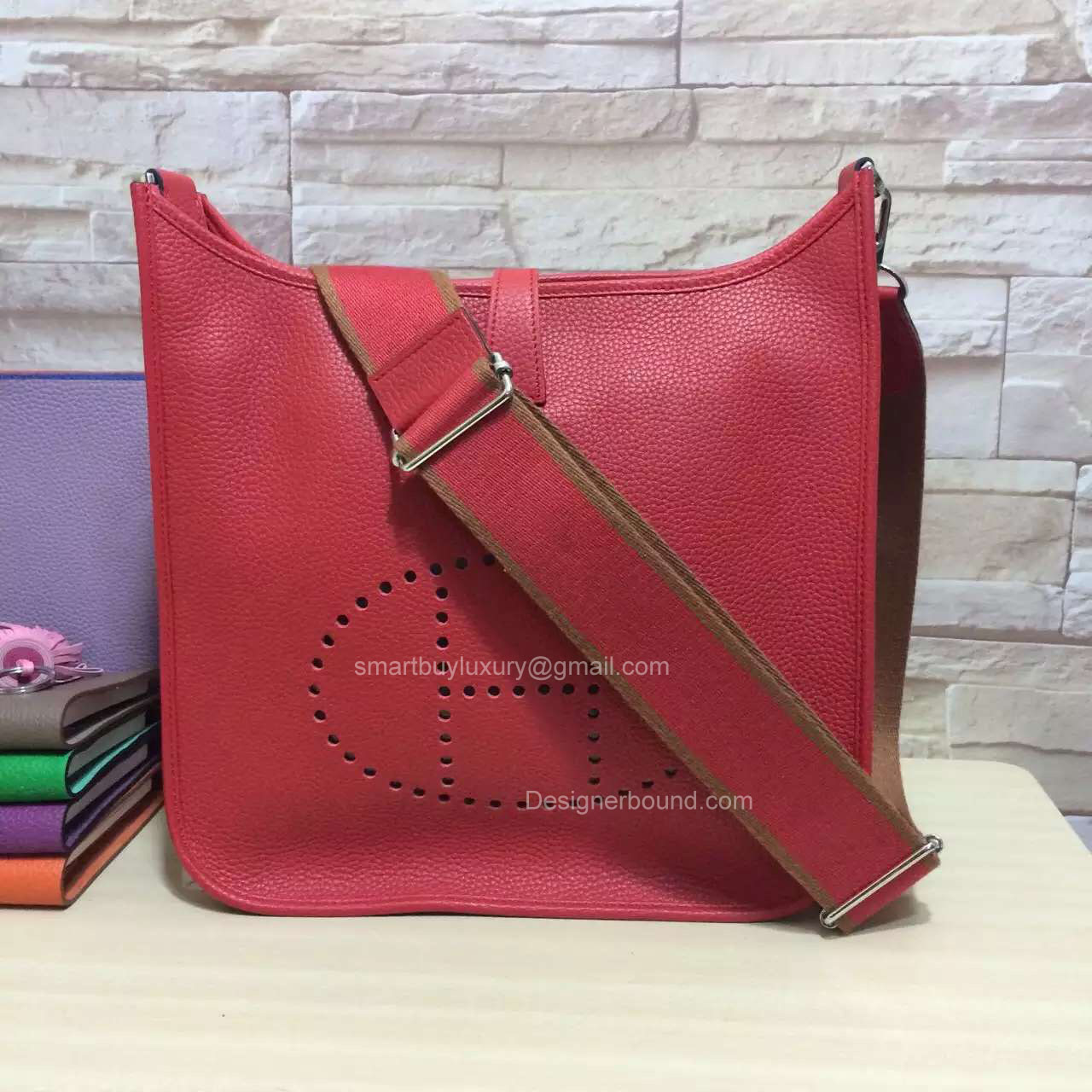 Hermes Evelyne III Bag GM in Hot Red Togo Leather