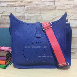 Hermes Evelyne III Deep Blue Bag GM in Togo Leather