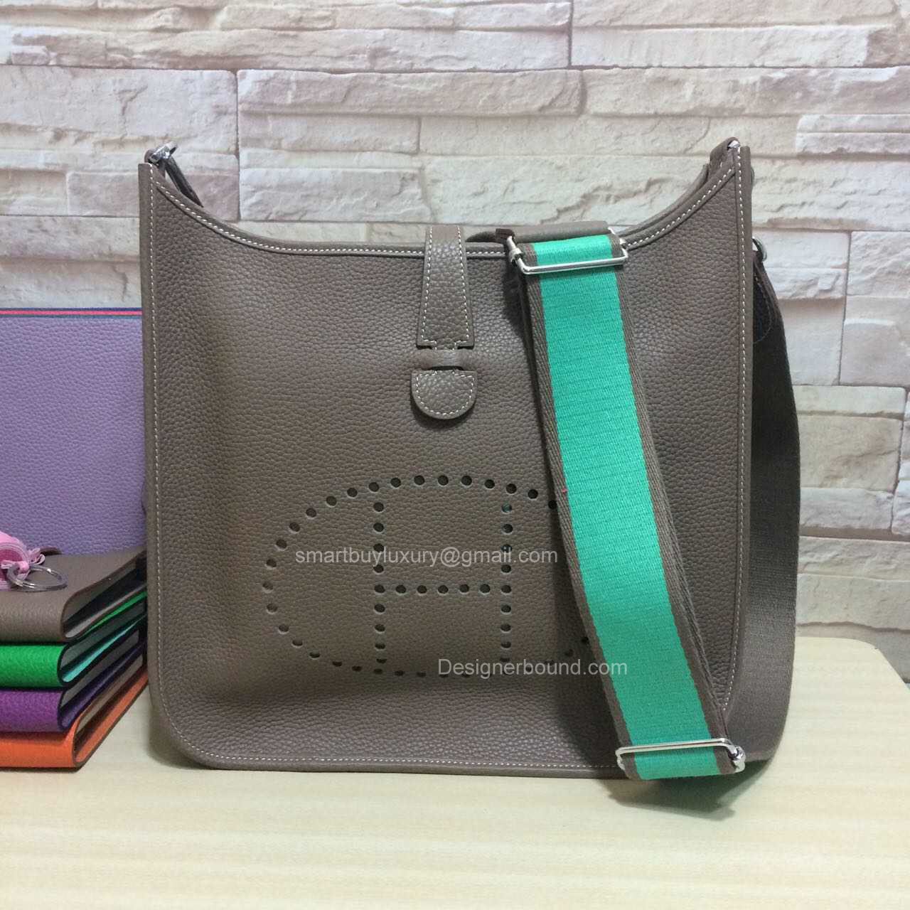 Hermes Evelyne III Bag GM in Etoupe Togo Leather