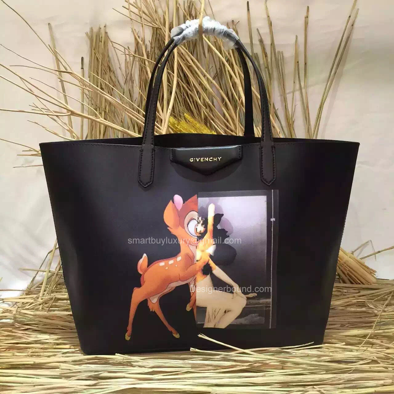 Givenchy Antigona Small Bambi Print Shopping Tote Black