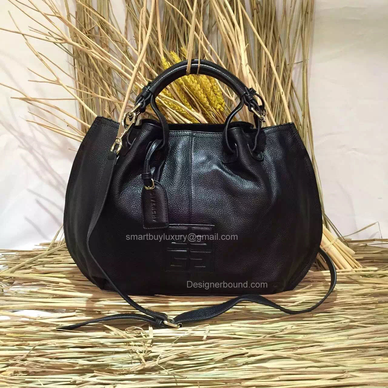 Givenchy Black Handbag Embossed Logo 286128