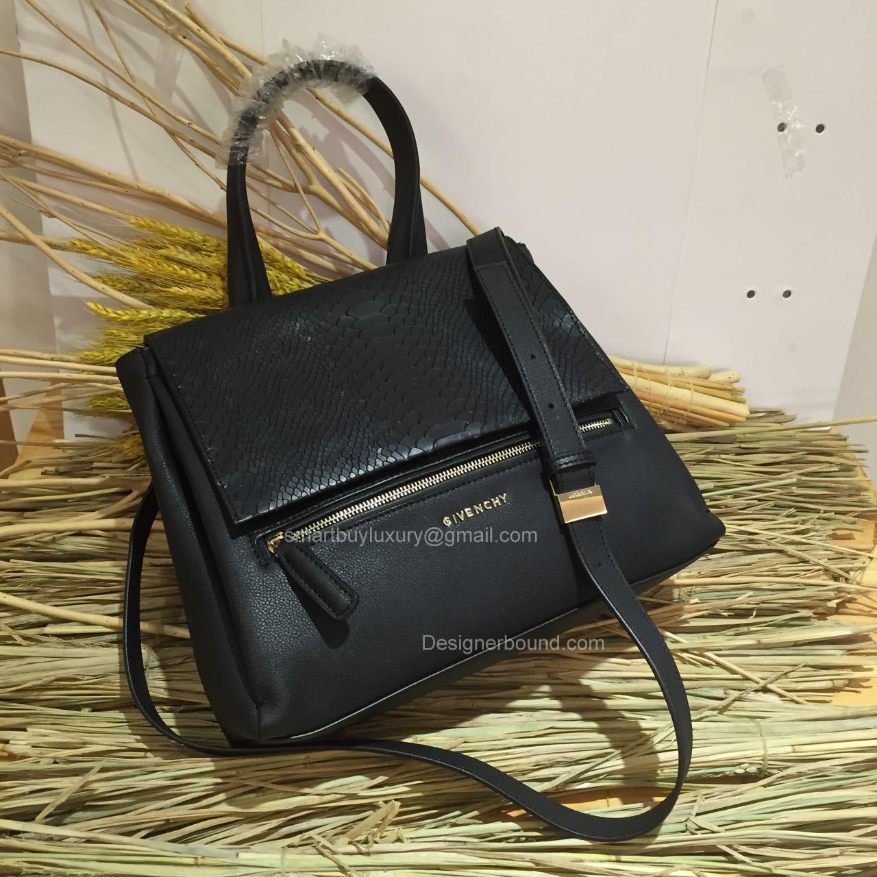 fcbb60b6c8 Givenchy Pandora Pure Medium Black Bag with Python Pattern Flap 286139 -