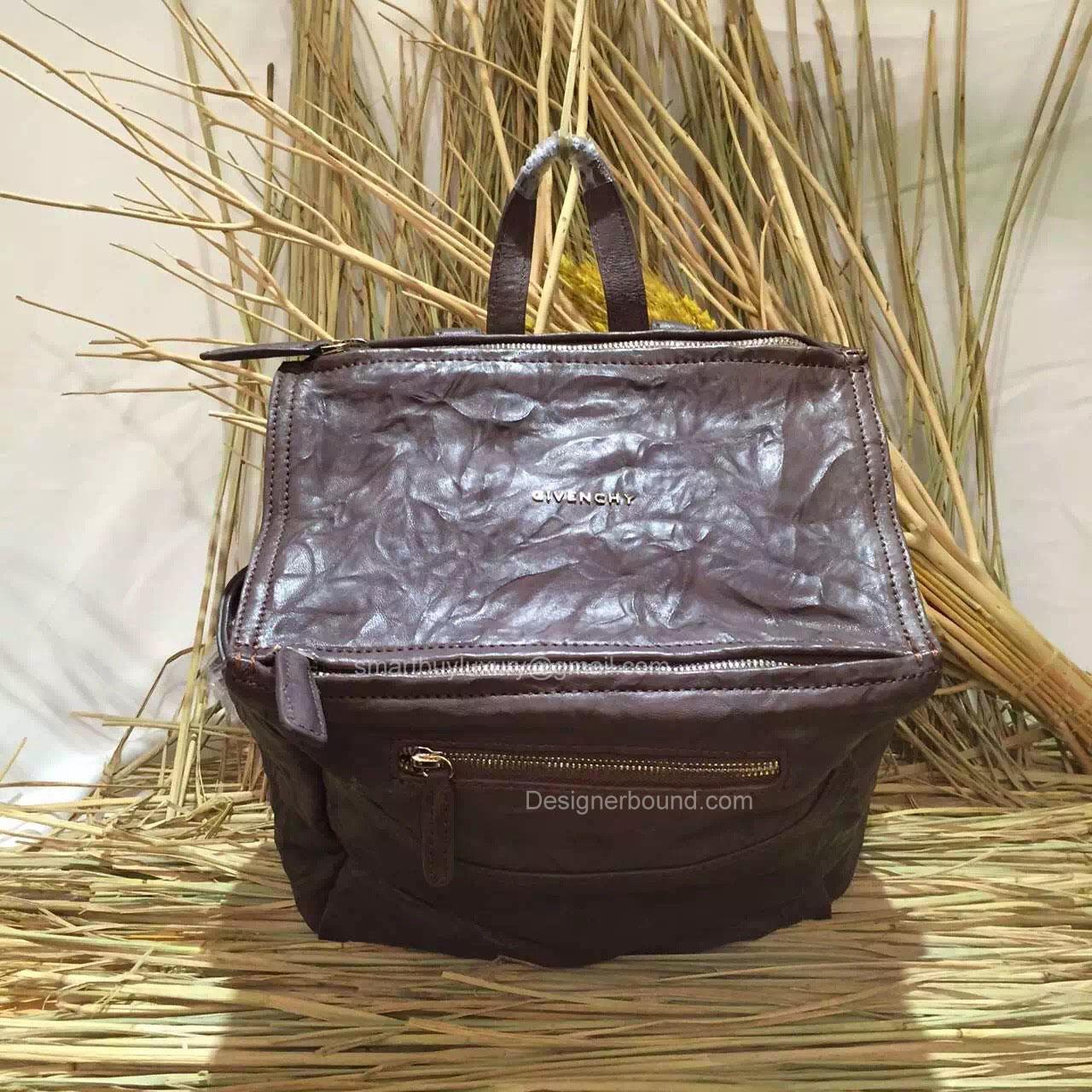 084e26e24104 Givenchy Pandora Wrinkled Lambskin Backpack Coffee 286135 -