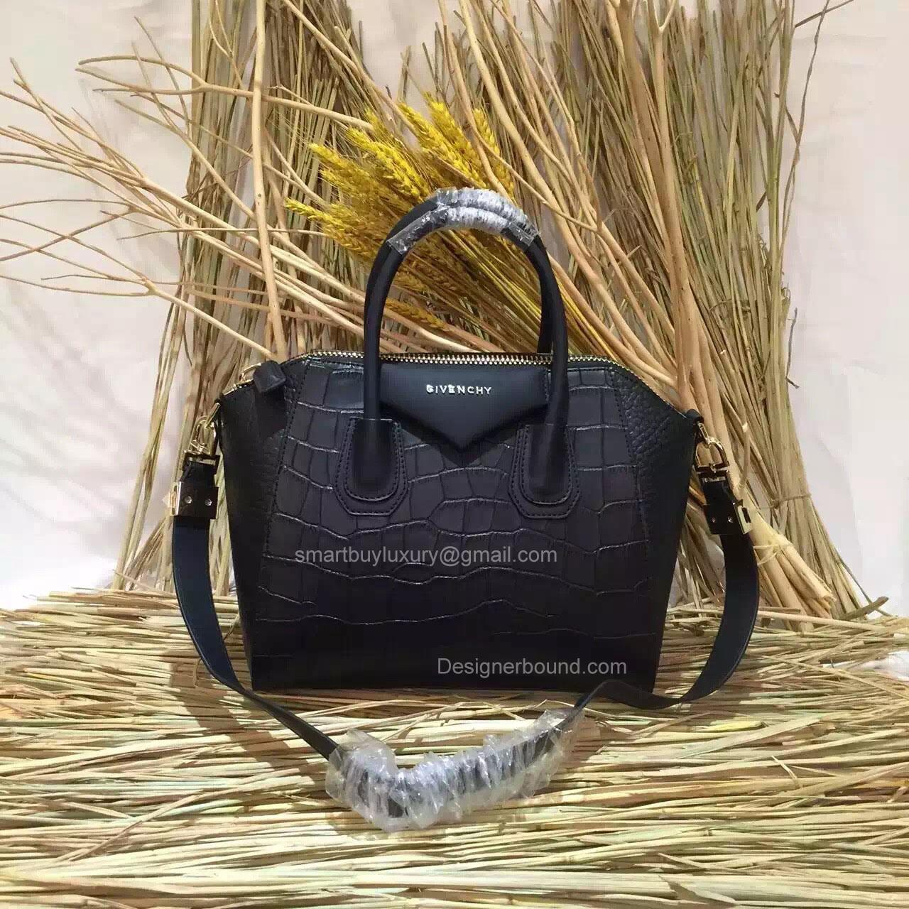 Givenchy Small Antigona Bag in Black Croco and Elephant Pattern 285173M ... cc3ed427cca52