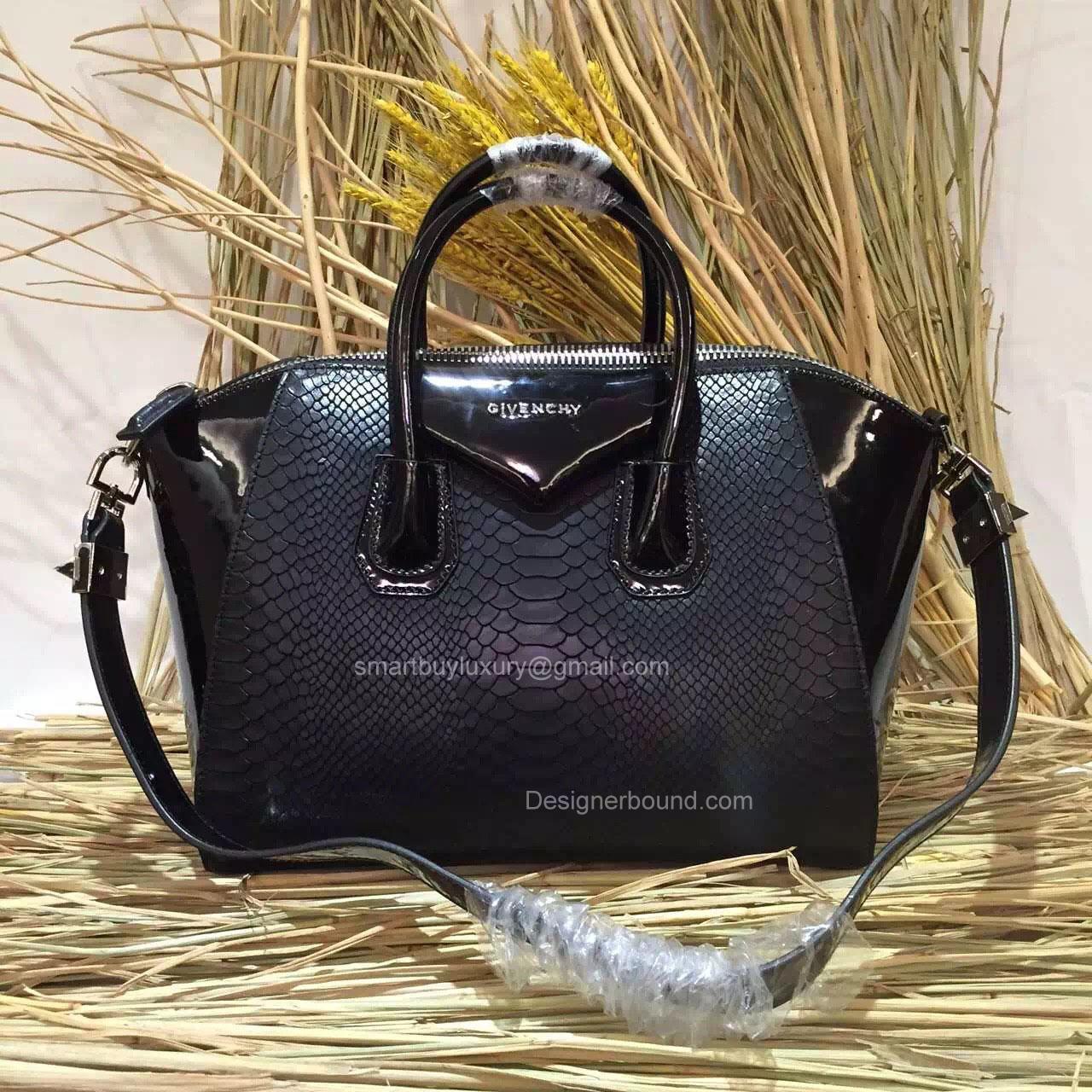 b322bea5fa26 Givenchy Medium Antigona Bag in Black Python and Patent Leather 285173L
