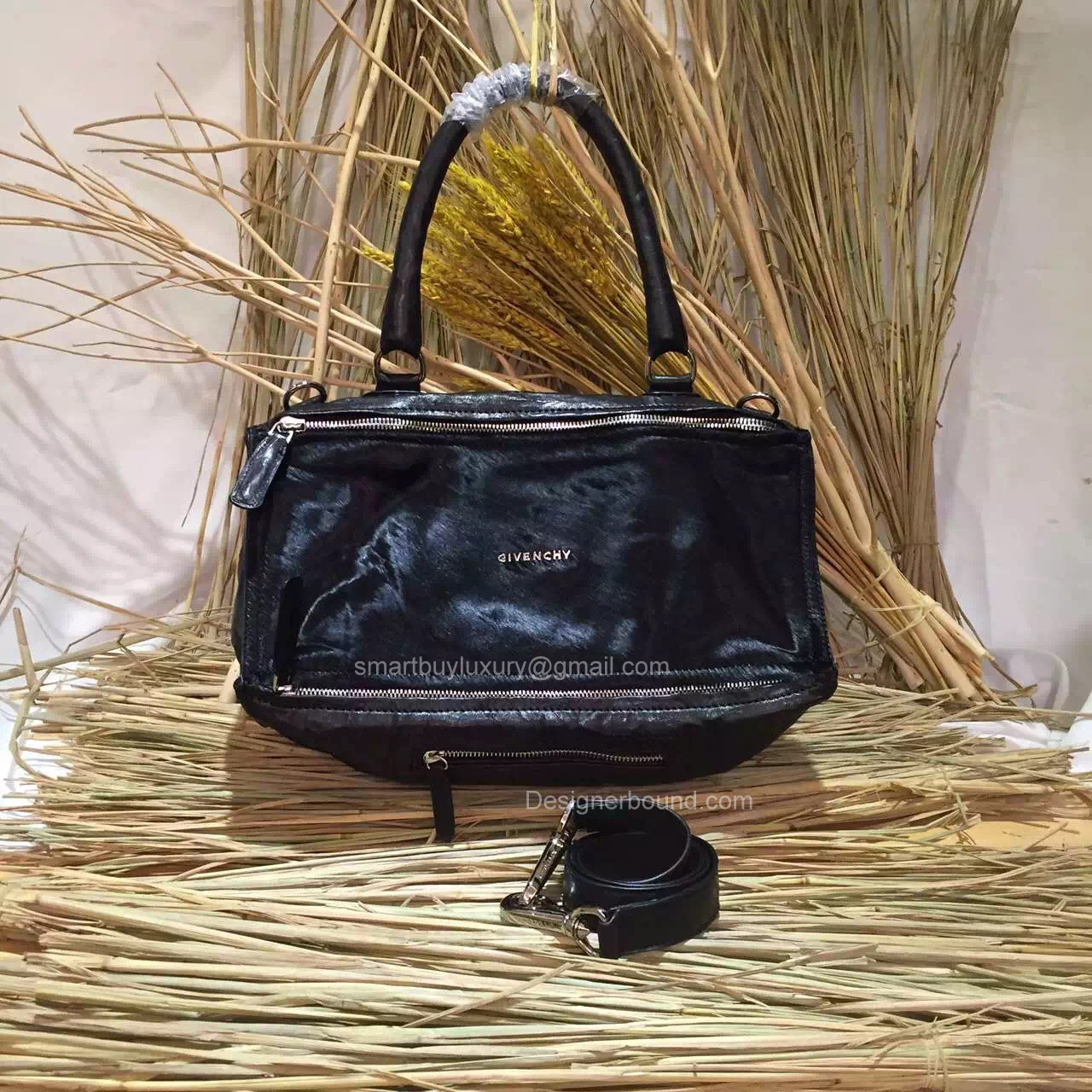Givenchy Large Pandora Black Bag with Pony Hair 285165