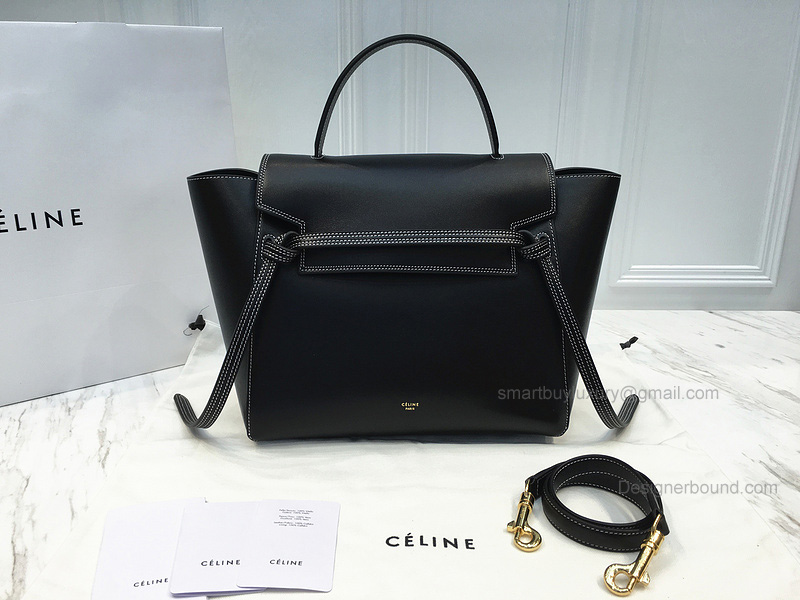 Ultimate Replica Black Celine Mini Belt Bag with Double White Stitching