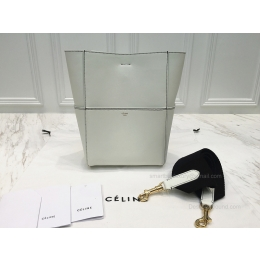 Celine Sangle Seau Mini Bag in White Calfskin