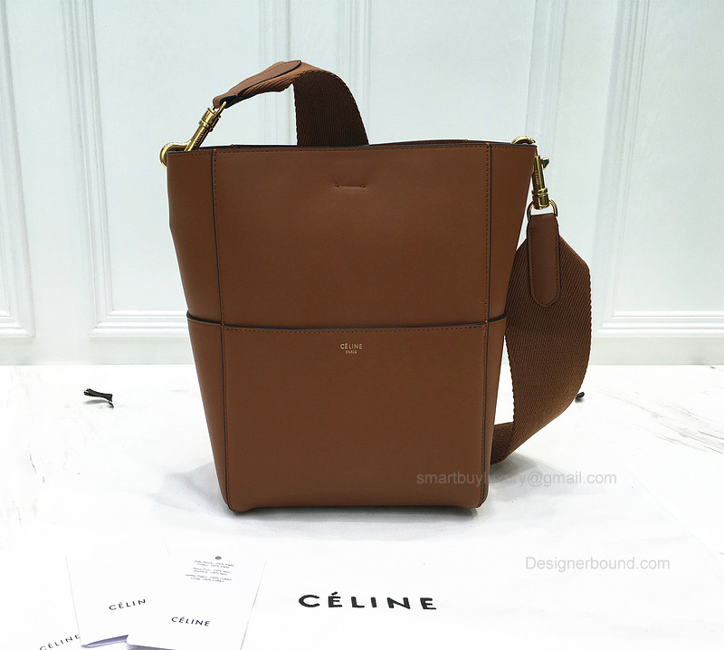 Ultimate Replica Celine Sangle Seau Mini Bag in Tan Calfskin