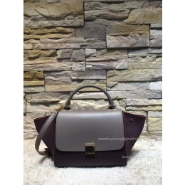 Celine Small Trapeze Shoulder Bag in Deep Grey Multicolor Calfskin