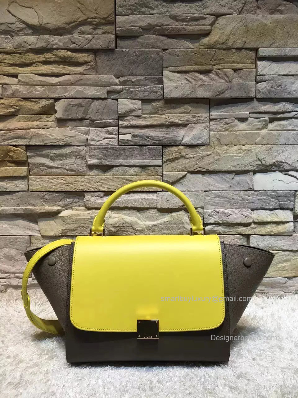 Celine Small Trapeze Shoulder Bag in Lemon Multicolor Calfskin