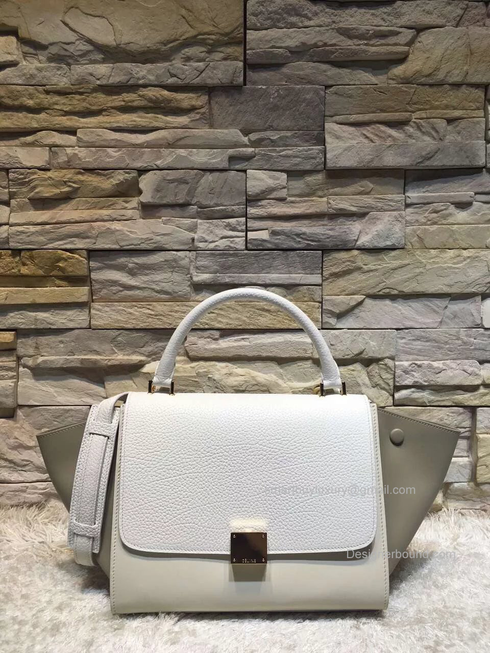 Celine Small Trapeze Shoulder Bag in White Multicolor Calfskin