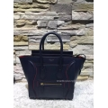 Replica Celine Mini Luggage Bag with Interstice in Navy Blue Smooth Calfskin