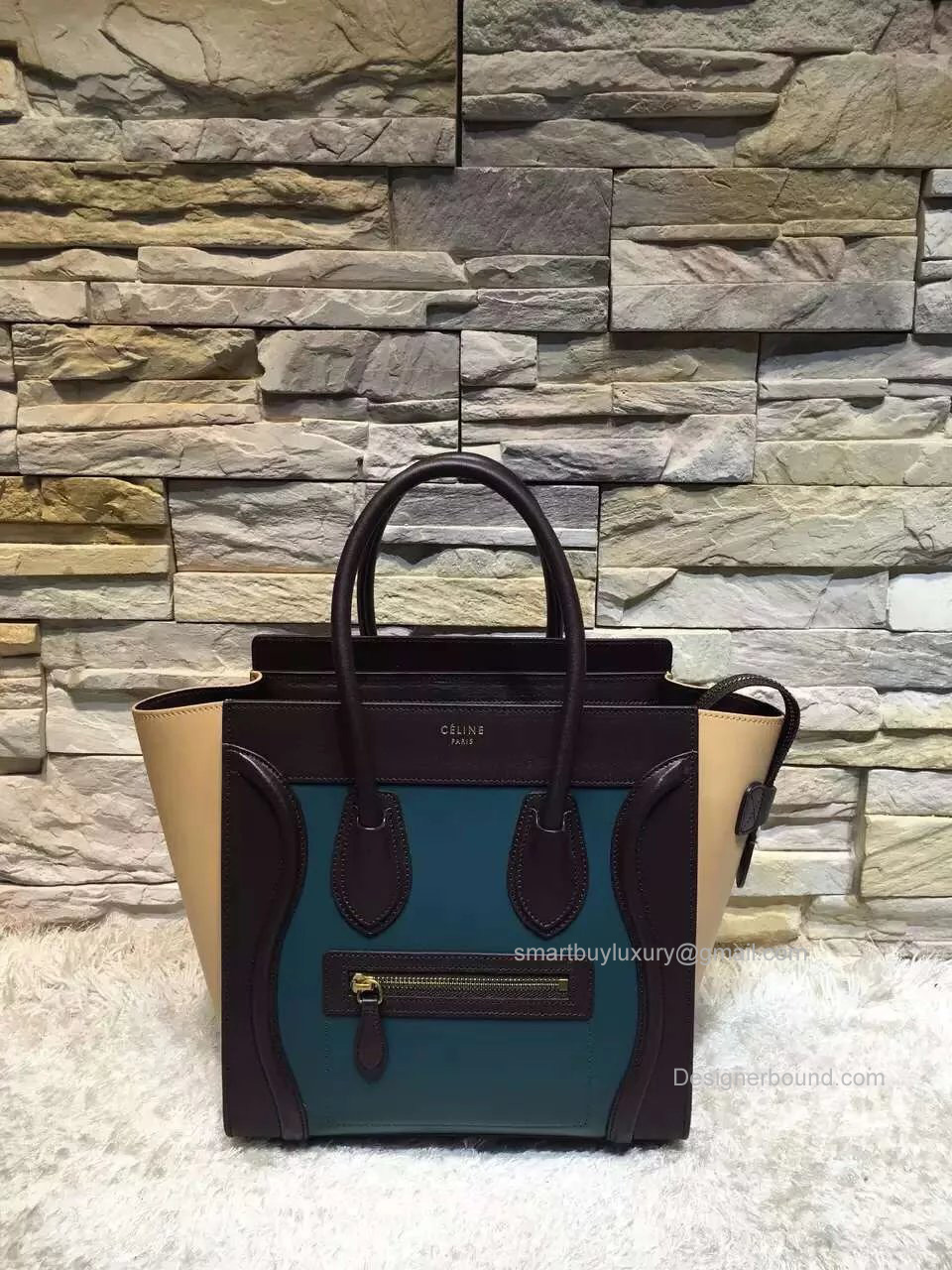 Replica Celine Mini Luggage Bag in Multcolor Blue Calfskin