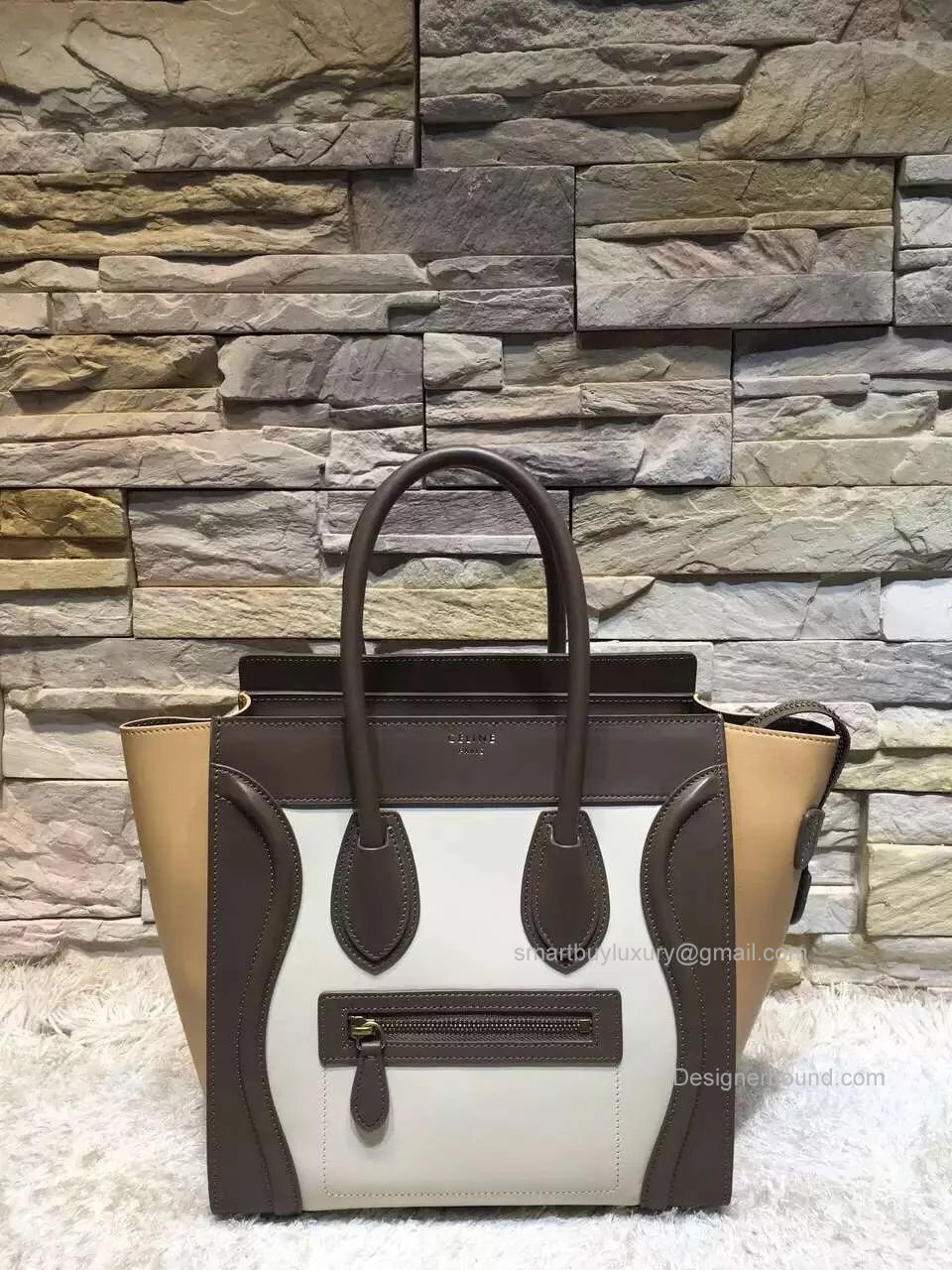 Replica Celine Mini Luggage Bag in Multcolor Chocolate Calfskin