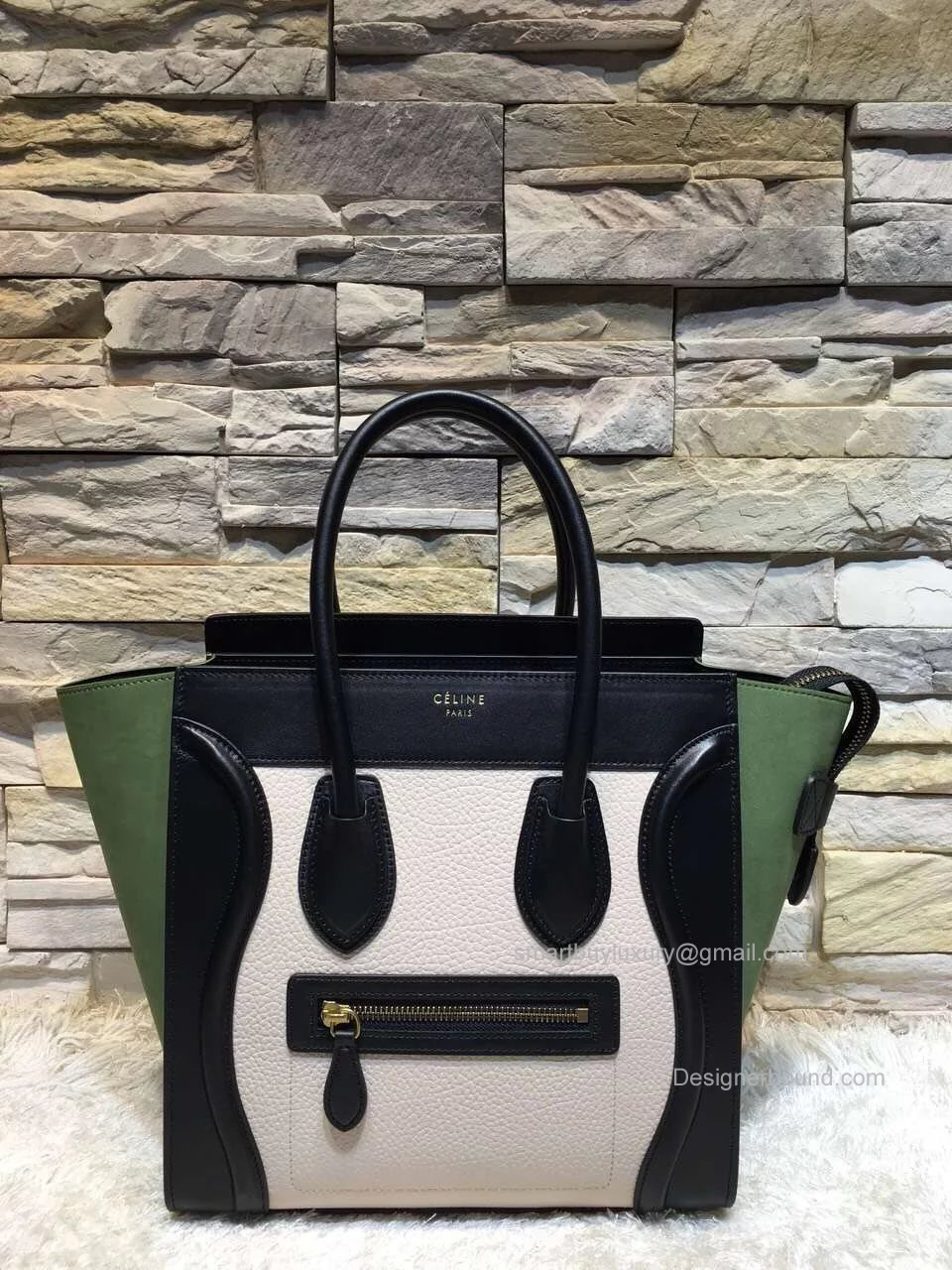 Replica Celine Mini Luggage Bag in Multcolor Black Calfskin