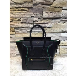 Replica Celine Mini Luggage Bag with Interstice in Black Smooth Calfskin