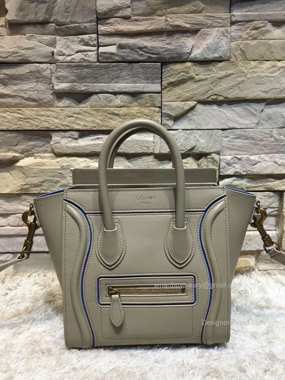 ad6094575 Replica Celine Nano Luggage Bag with Interstice in Light Grey Smooth  Calfskin