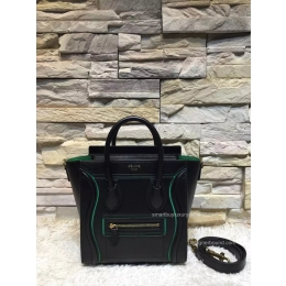 Replica Celine Nano Luggage Handbag with Interstice in Black Smooth Calfskin