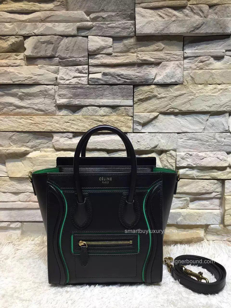 af29525b9f Replica Celine Nano Luggage Handbag with Interstice in Black Smooth Calfskin