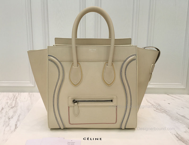 Celine Mini Luggage Bag with Multicolour Double Stitching in Cream Calfskin