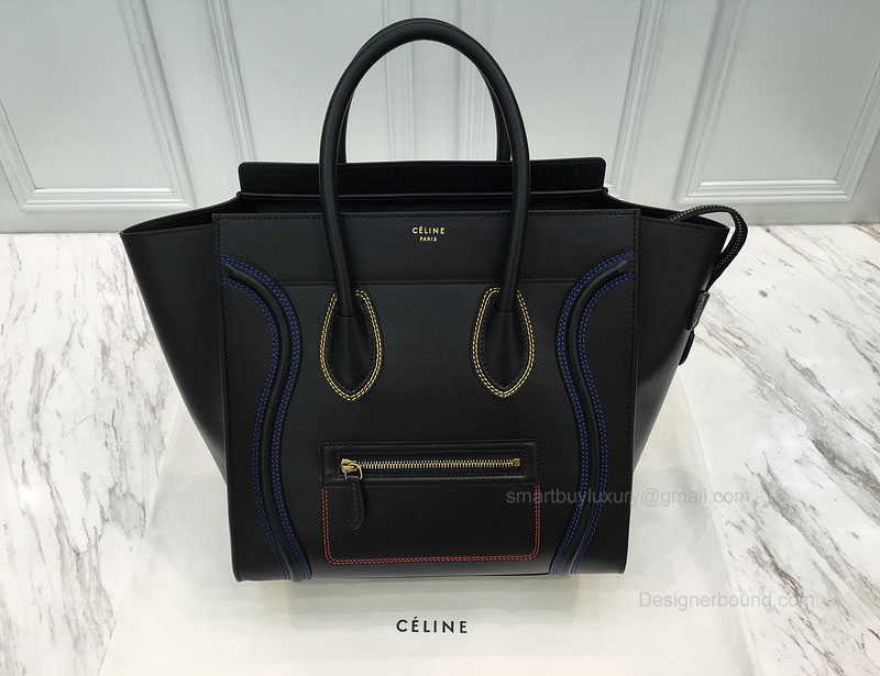 Celine Mini Luggage Bag with Multicolour Double Stitching in Black Calfskin