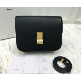 Super Fake Celine Medium Classic Bag in Black Textured Calfskin