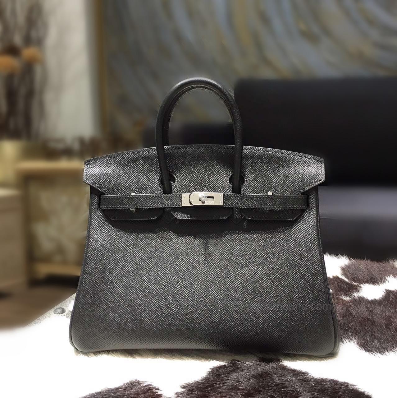 c353417344 Hand Stitched Hermes Birkin 25 Bag in ck89 Noir Epsom Calfskin SHW