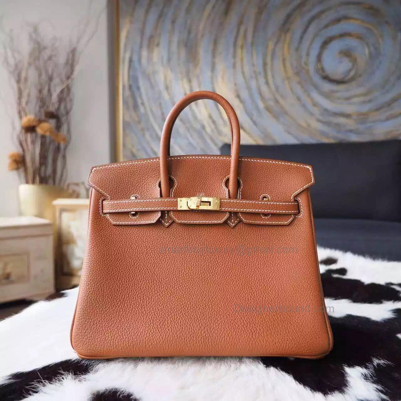 1b0eaafc39 Hand Stitched Hermes Birkin 25 Bag in cc37 Gold Togo Calfskin GHW