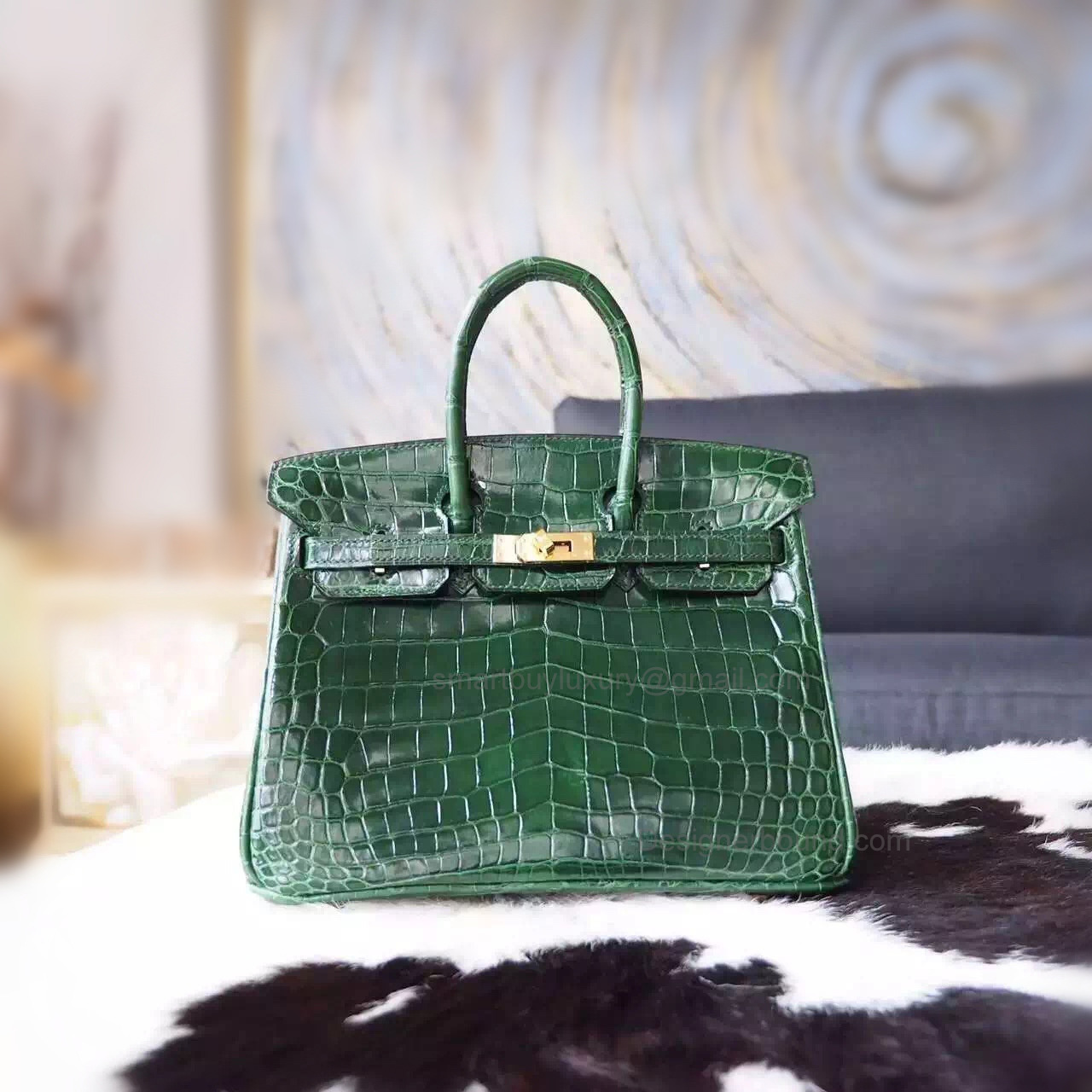 7afb4408dd Hand Stitched Hermes Birkin 25 Bag in ck67 Vert Fonce Shining Niloticus  Croc GHW