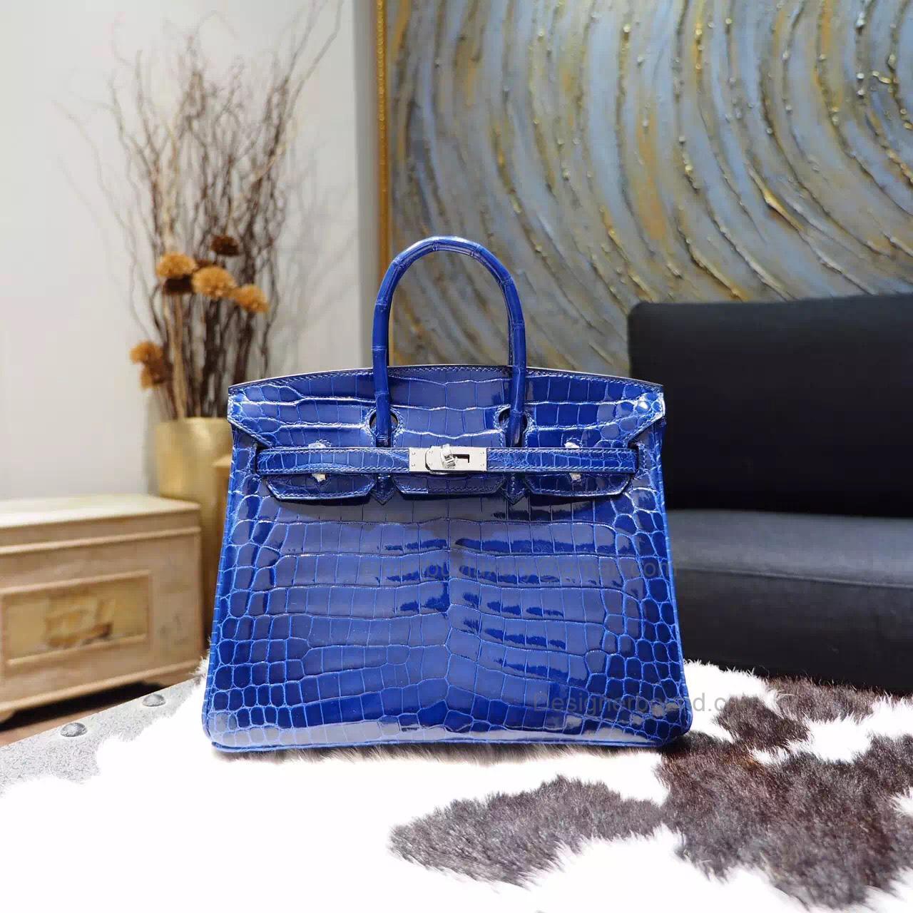 fc7d0b287a Hand Stitched Hermes Birkin 25 Bag in 7t Blue Electric Shining Nile Croc SHW