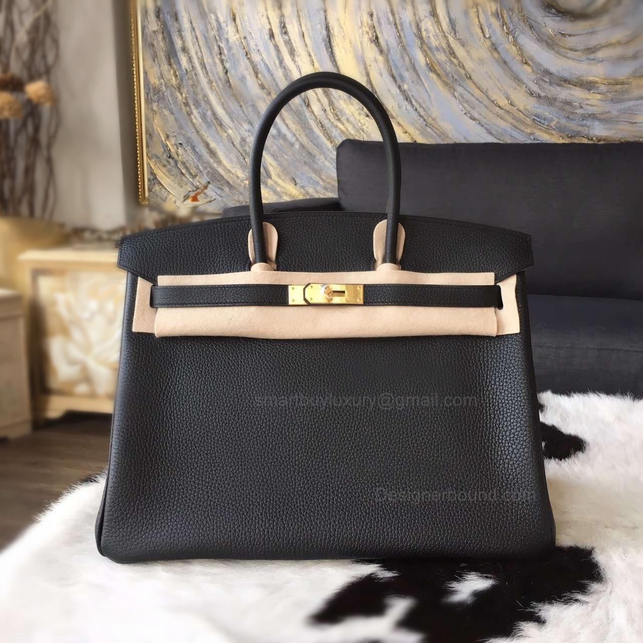 25a7e9d9270 Hand Stitched Hermes Birkin 35 Bag in ck89 Noir Togo Calfskin GHW -